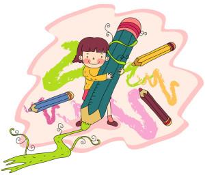 Girl using crayon pencil colors